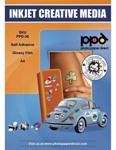 PPD A4 jet d'encre brillant vinyle auto-adhésif papier autocollant 20x Feuilles de la marque Photo Paper Direct image 0 produit