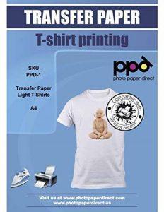 PPD A4 Jet d'encre Papier transfert application avec un fer à repasser-Transferts pour T shirt/tissu claire x 10 Feuilles PPD-1-10 de la marque PPD image 0 produit