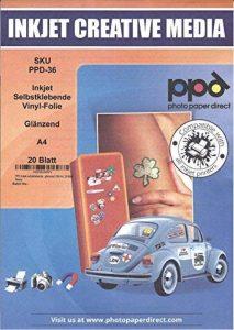 PPD film vinyle autocollant, brillant, format a4, 20 feuilles de la marque Photo-Paper-Direct image 0 produit