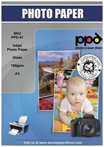 PPD Lot Premium de 50 feuilles de papier photo brillant, de qualité supérieure pour imprimante à jet d'encre, A3 180g/m², à desprix battants de la marque Photo Paper Direct image 0 produit