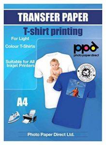 PPD Papier Jet d'encre transfert A4 application avec un fer à repasser/Transferts pour T shirt couleur blanche et claire x 20 Feuilles PPD-1-20 de la marque PPD image 0 produit