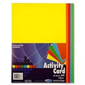 Premier Papeterie A4160g/m² Carte d'Activité–Arc-en-ciel (Lot de 50feuilles) de la marque Premier Stationery image 0 produit
