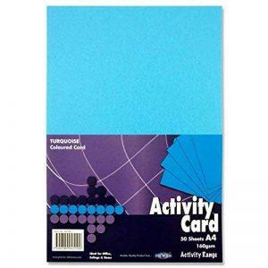 Premier Papeterie A4160g/m² Carte d'Activité–Turquoise (Lot de 50feuilles) de la marque Premier Stationery image 0 produit