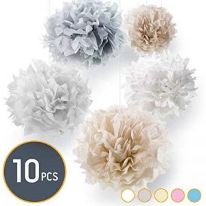 Pumpko 10 Pompons de papier (40, 30, 25 cm, Crème, Gris Clair, Blanc) de la marque Pumpko image 0 produit
