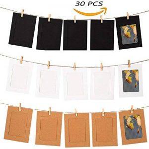 QiGui 30 Pièces Cadres Photo Papier Collage Porte-Photos Avec des Clips en Bois de 30 Pièces et des Ficelles de 3 Pièces pour des photos de 10x15cm de la marque QiGui image 0 produit