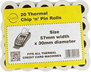 Quest Lot de 20 rouleaux de Papier thermique de puce : 57 mm x 30 mm-Compatible avec toutes les Machines à carte bancaire thermique de la marque Quest image 0 produit