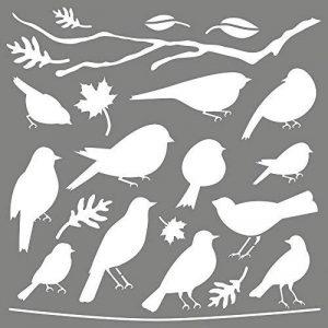 Rayher Hobby 38972000 Pochoir Amis pennés, pochoir de 30,5 x 30,5 cm idéal pour créer de jolis motifs au design oiseau sur divers supports, sct.-LS 1pièce, gris de la marque Rayher Hobby image 0 produit