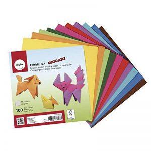 Rayher Hobby papier origami dépliants double face FSC Mix Credit – lot de 100 feuilles origami en 10 couleurs vives – papier japonais bricolage pour enfant et adulte – 15 cm x 15cm, 80/m² de la marque Rayher Hobby image 0 produit