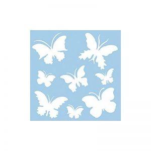 Rayher Hobby pochoir papillon en plastique 30 cm x 30 cm – pochoir dessin 8 motifs env. 5,5 cm-12 cm – pochoir peinture murale souple & indéformable – pour décoration murale – bleu clair de la marque Rayher Hobby image 0 produit
