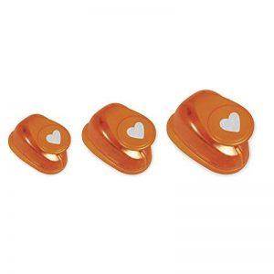 Rayher perforatrice cœur – lot de 3 perforatrices en forme de cœur– perforatrices scrapbooking idéal pour les activités des loisirs créatifs – orange de la marque Rayher Hobby image 0 produit