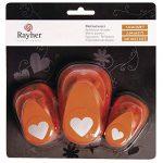 Rayher perforatrice cœur – lot de 3 perforatrices en forme de cœur– perforatrices scrapbooking idéal pour les activités des loisirs créatifs – orange de la marque Rayher Hobby image 2 produit