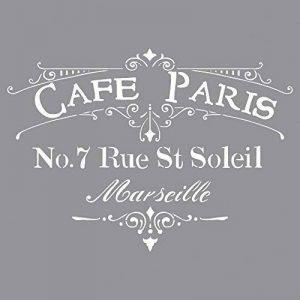 Rayher pochoir à motif café de paris – pochoir lettre pour la création d'un joli décor parisien – idéal pour vos activités de loisirs créatifs de la marque Rayher Hobby image 0 produit