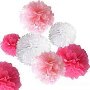 Rbenxia Lot de 18Boule à Suspendre à pompons en papier de soie fleur, Premium Papier de soie Pom Pom Fleurs Craft Kit pour décoration de fête de mariage extérieur (Rose et Blanc), 20,3cm/25,4cm/30,5cm de la marque Rbenxia image 0 produit