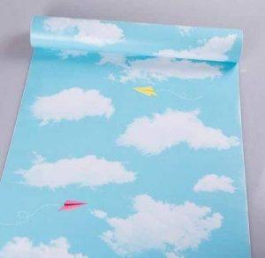 REAGONE Le papier peint papier peint Autocollant 10M 60cm de largeur d'un rouleau de couleur pure Chambre Dortoir confortable, Anti-Romantic Coréen Sky Blue 45W 10M bleu ciel, gros aéronefs.807692 de la marque REAGONE image 0 produit