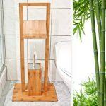 Relaxdays Ensemble Porte-brosse WC et Porte-Rouleau de papier-toilette en Bambou HxlxP : 82 x 36 x 21 cm dérouleur distributeur papier serviteur de toilettes en bois support brosse amovible, nature de la marque Relaxdays image 1 produit