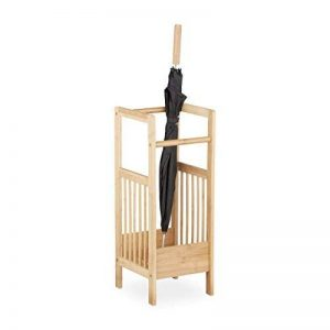Relaxdays Porte-parapluies en bambou design naturel élégant support bois avec 2 poignées HxlxP: 64 x 25 x 26-5 cm- nature de la marque Relaxdays image 0 produit
