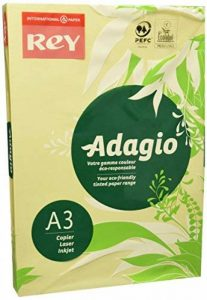 Rey Adagio Ramette de 500 feuilles papier couleur pour imprimante laser/jet d'encre/copieur 80g Format A3 canaris de la marque REY image 0 produit