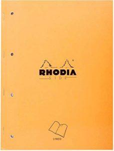 Rhodia - Side - Bloc Agrafes Perforé 80 Feuilles - Ligné - Format A4 (22,3 x 29,7 cm) - Orange de la marque Rhodia image 0 produit