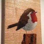 Robin Stencil Artwork Pulvérisation à la main Image peinte sur bois. 13 x 12 cm Par le gagnant de l'année, oiseau préféré du Royaume-Uni / Grande-Bretagne de la marque The Stencil Shed image 4 produit