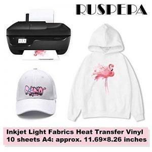 RUSPEPA 21 X 29.7 Cm Jet D'Encre Tissus De Transfert De Chaleur Feuille De Vinyle A4 Imprimable Iron-On Papier Pour T-Shirts, Sac, Chapeaux Et Vêtements, 10 Feuilles de la marque RUSPEPA image 0 produit