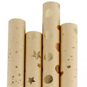 RUSPEPA Classique Style Feuille D'Or Brun Kraft Papier D'Emballage Pour Cadeau-4 Rouleau-76Cm X 305Cm Par Rouleau de la marque RUSPEPA image 0 produit