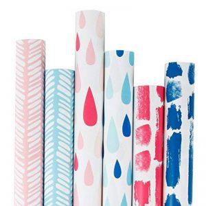 RUSPEPA Rouleau De Papier D'Emballage De Cadeau De Rose Et De Bleu De 6 Rouleaux - 76Cm X 305 Cm Par Petit Pain de la marque RUSPEPA image 0 produit