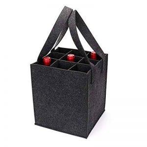 Sac à vin en feutre épais avec poignée, HomeYoo bouteille de vin cadeau sac pour la partie de voyage d'anniversaire de vacances, réutilisable lavable avec diviseur amovible, matériaux non allergènes (9 Bouteilles, Gris foncé) de la marque HomeYoo image 0 produit