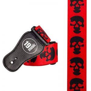Sangle Guitare Tête de mort Gothique Style Pochoir Noir sur Fond Rouge (3020) de la marque 19 MUSIC image 0 produit
