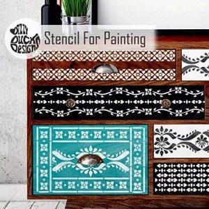 SATARA Indien Incruster Ensemble de 5 Meubles Mur Sol Pochoir Pour Peinture de la marque Dizzy Duck Designs image 0 produit