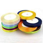 satiné coloré ruban 22,9m X 2rouleaux pour cadeaux de mariage Craft Wrap 10mm de largeur 2rouleaux de la marque Anjing image 1 produit
