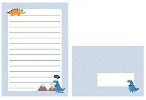Set de papier à lettres Dinosaure pour les enfants: 25feuilles format DIN A5ligné + 10enveloppes (OD. Fille Garçon Bleu/Orange) de la marque dabelino image 0 produit