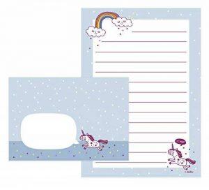 Set de papier à lettres pour fille de licorne: 25feuilles format DIN A5, ligné + 10enveloppes (enfants, rose/bleu) de la marque dabelino image 0 produit