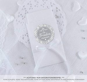 Set Grande taille: 48Freude Tränen Sticker + sacs plate Blanc 48–63x 93mm pour Freude Tränen Sac Serviette emballages • Autocollants Gris avec décorations en papier Kraft Shabby Chic Look • 4cm duch Couteau, mat de la marque Grußkarte mit Herz image 0 produit