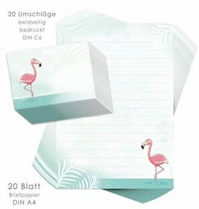 Set papier à lettres pour enfants Flamingo 20feuilles DIN A4avec lignes + 20enveloppes imprimées/Papier à lettre Set/Papier à lettre pour enfant enfants/Papier à lettres filles de la marque emufarm image 0 produit