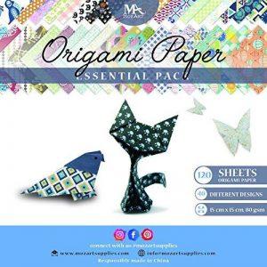 Set papier origami - 120 feuilles - Papier traditionnel japonais à plier comprenant de motifs floraux, animaux, aztèques, géométriques - Créez des fleurs, une grue, une chouette, un dragon, des animaux - Papiers origami pour enfants & adultes de la marque image 0 produit