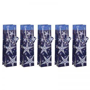 Sigel GT027 Lot de 5 sacs cadeaux Noël pour bouteilles, 35 x 10 cm, bleu et blanc de la marque Sigel image 0 produit