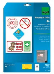 Sigel IF140 Lot de 10 films autocollants résistants aux intempéries, 21 x 29,7 cm, pour imprimantes jet d'encre, blanc de la marque Sigel image 0 produit