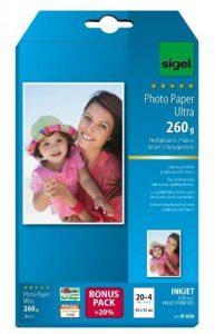 Sigel IP606 Papier photo professionnel, jet d'encre, ultra brillant, format 10 x 15 cm, 260g/m², 20 feuilles + 4 gratuites de la marque Sigel image 0 produit