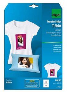 Sigel IP650 Transfert jet d'encre pour tee-shirts clairs, format A4 (21 x 29,7 cm), 197 µm, 3 feuilles de la marque Sigel image 0 produit