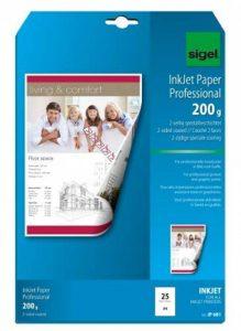 Sigel IP681 Papier professionnel d'imprimante jet d'encre, format A4 (21 x 29,7 cm), 200 g/m², 25 feuilles de la marque Sigel image 0 produit