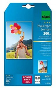 Sigel IP719 Papier photo Everyday jet d'encre, ultra brillant, format 10 x 15 cm, 200 g/m², 60 feuilles + 12 gratuites de la marque Sigel image 0 produit