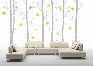 """Six Grand Bouleau arbres avec oiseaux Sticker mural en vinyle Papier peint Art Mural pour décoration de chambre, Lightgray And Yellow, 71""""h x 110w"""" de la marque MAFENT image 0 produit"""