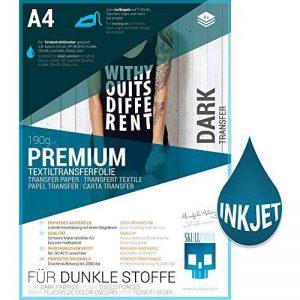 SKULLPAPER Papier Transfert Textile Tshirt / Textile Noirs ou Foncés / y compris 200 modèles de motifs / A4 / pour Inkjet Imprimante / 8 feuilles de la marque Skullpaper image 0 produit