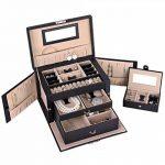 Songmics Boîte à bijoux coffre à bijoux avec 2tiroirs Miroir jbc121b de la marque SONGMICS image 1 produit