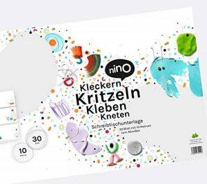 Sous-main & Bloc de papier pour enfants créatifs au grand format A2–30Feuilles à tirer avec idées à kleckern, kritzeln, à Coller & Pétrir–ausdenken au lieu de coloriage de la marque NINO kreativ image 0 produit