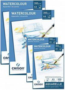 Spar Pack CANSON Bloc 2x bloc A4+ 2x A5papier aquarelle 300g/m² 10feuilles de papier blanc–avec haute qualité pour aquarelle en sans acide + Palette de mélange de la marque Canson image 0 produit