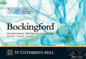 St. Cuthberts Mill Bockingford papier aquarelle Pad : GLUED - 7x10in - 140lb (300g/m²) - NOT surface - 12 feuilles de la marque Bockingford image 0 produit