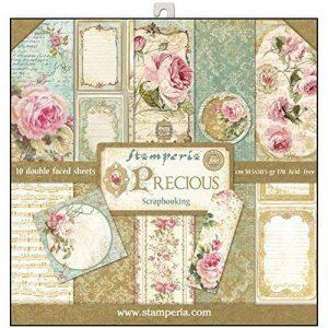 Stamperia - Papier scrapbooking assortiment roses 10f recto verso - 170 gr/m2 de la marque Stamperia image 0 produit