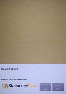 Stationery Place - Carte / Carton Kraft Naturel Marron Recyclé - Epais - A4 280gm - Pack de 50 feuilles de la marque Stationery Place Kraft Card image 0 produit