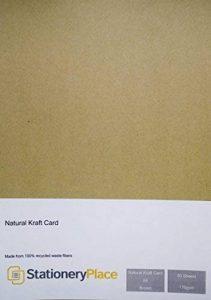 Stationery Place - Carton Papier Kraft Naturel Marron Recyclé - Fin - A4 170gm - Pack de 50 feuilles de la marque Stationery Place Kraft Card image 0 produit